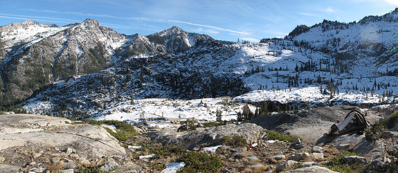 Camped on the glacially polished granite in the Boulder Creek Lake basin.