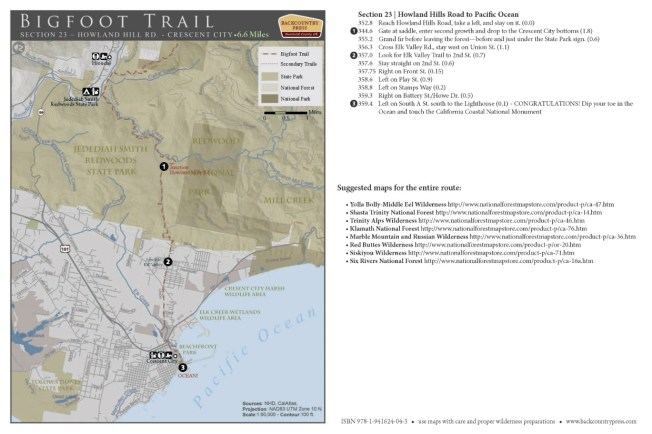 Bigfoot Trail section 23 - V2.2015 map set.
