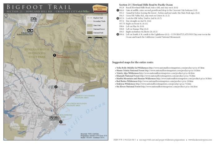 Bigfoot Trail section 23 - V2.2015 map set.