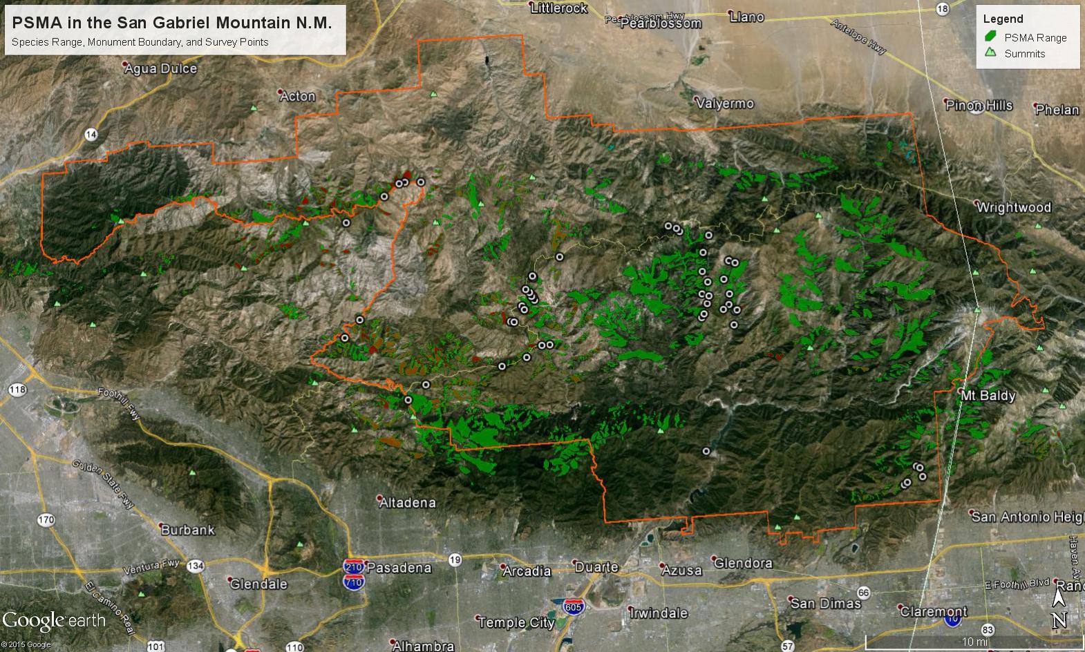 San Gabriel Mountains National Monument Plant Explorations - Us map san gabriels mountain range