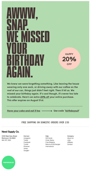 Example of Birthday Reminder campaign from NeedSupplyCo.