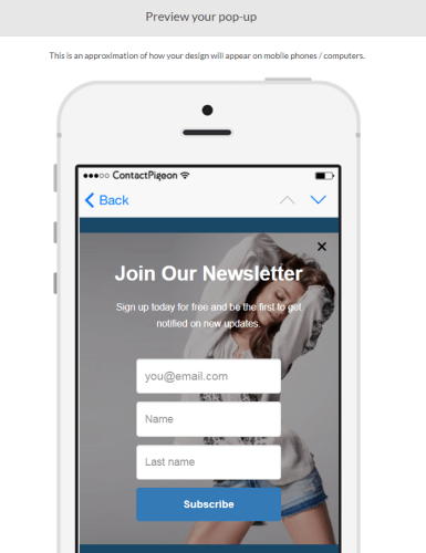 Popup mobile preview