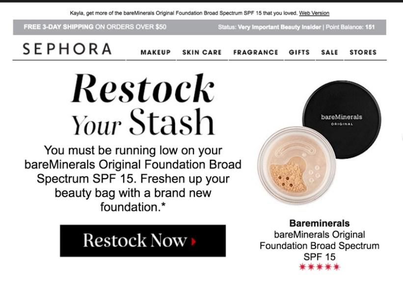 Marketing Automation Example - Sephora Repurchase Reminder