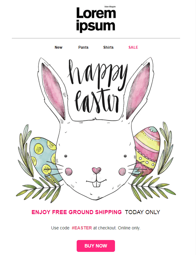 Easter email templates: Happy Easter Bunny