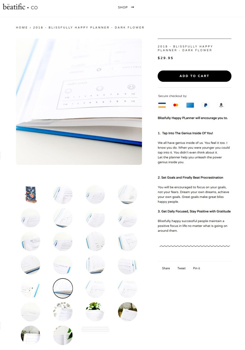 Best product pages: Beatific co.
