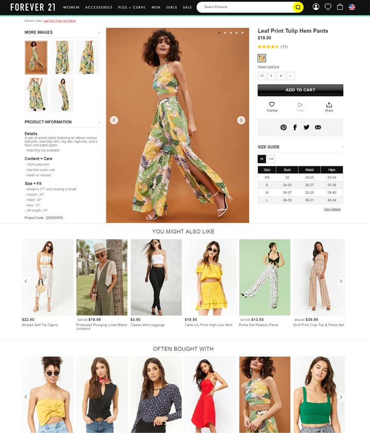 Best product pages: F21