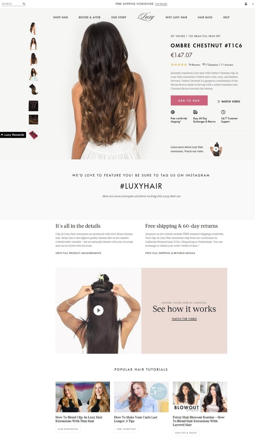 Best product pages: Luxy