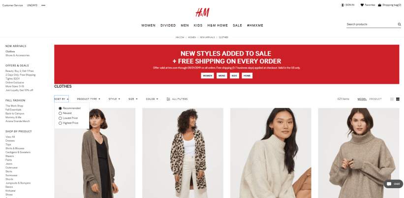 H&M category page example