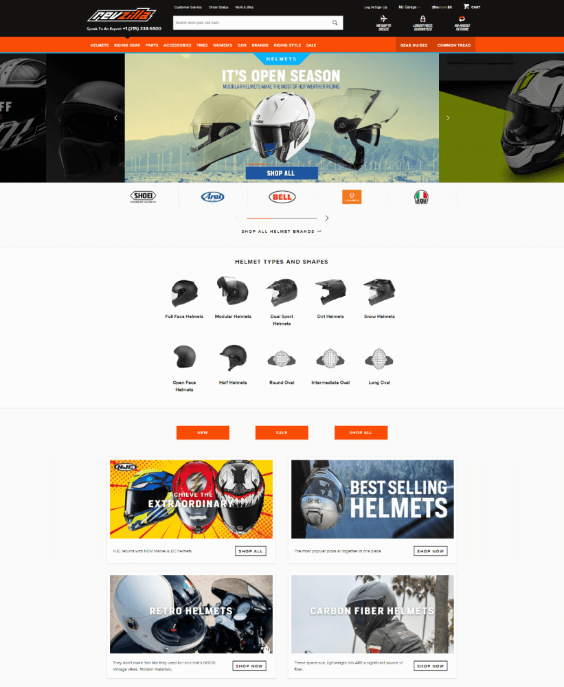 Revzilla category page example