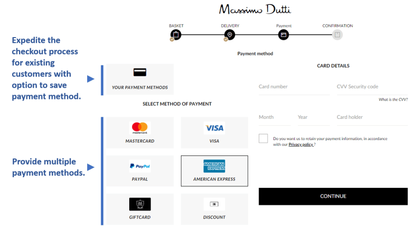 Customer payment options checkout flow