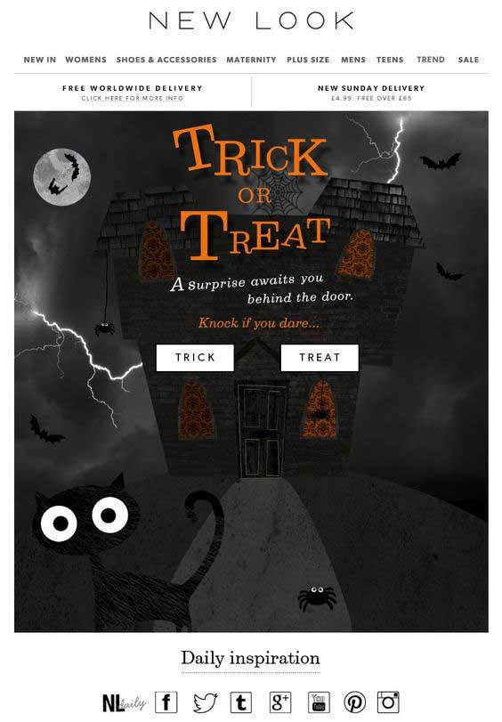 newlook halloween email campaign example