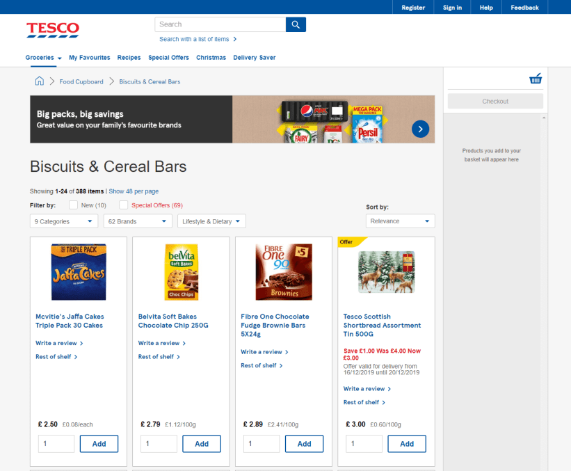 Tesco category page