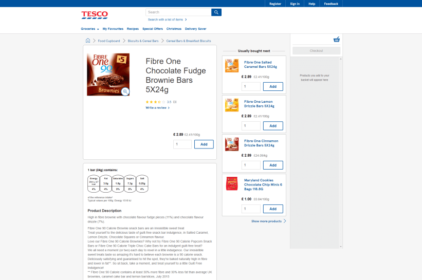 Tesco product page