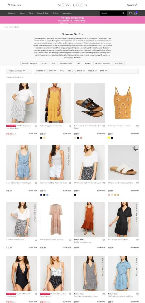 New Look's Category Page - Seasonal Outfits