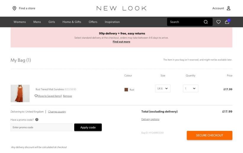 New Look's checkout process