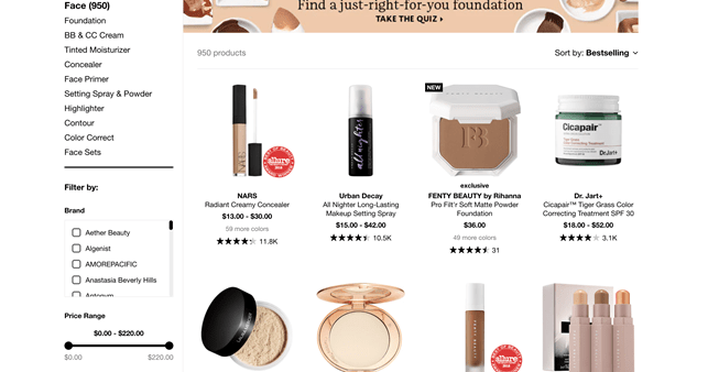 Sephora Category Page