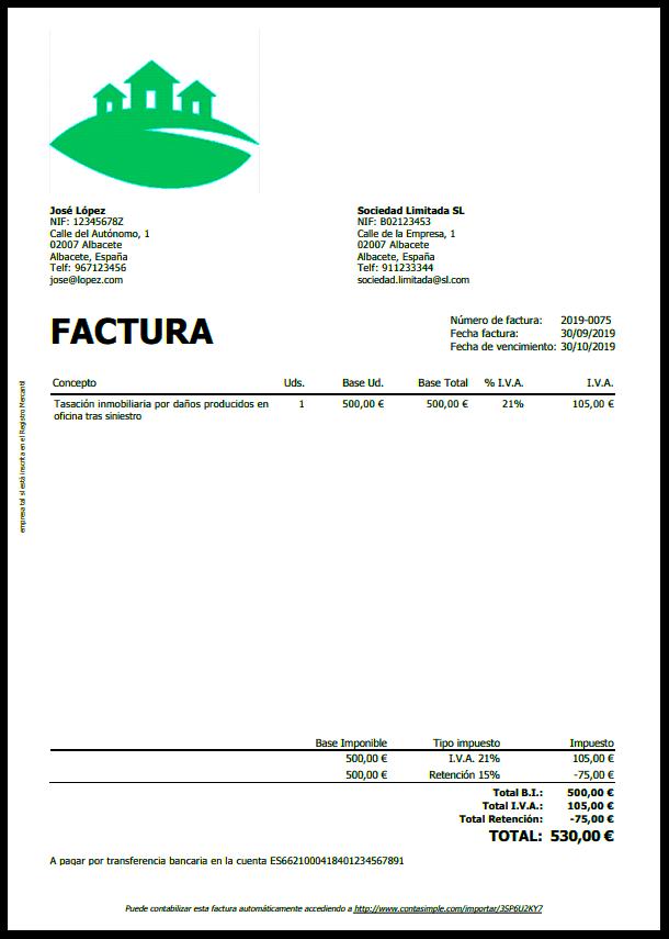Ejemplo de factura pdf con retención de IRPF