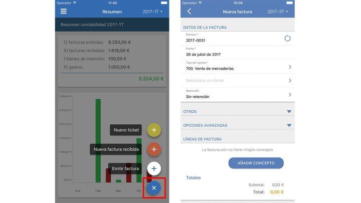 nueva factura app contasimple