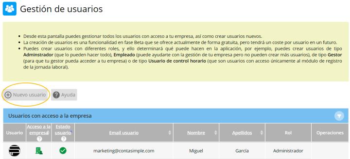 Gestión de usuarios, Nuevo usuario.