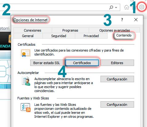 Comprobar descarga del certificado digital desde Internet Explorer
