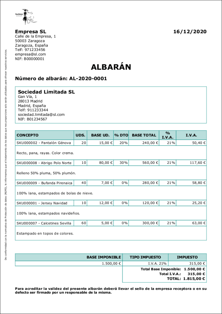 Ejemplo de albarán. Modelo de albarán