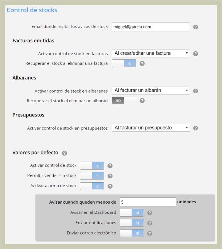 Escoger funcionalidades personalizadas de tu control de existencias