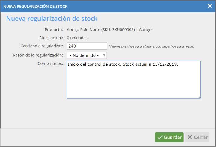 Nueva regularización de stock