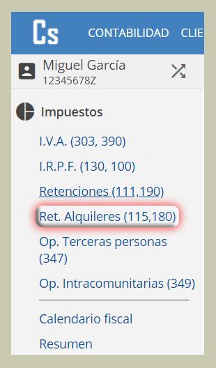 Retención de Alquileres, modelo 115, modelo 180