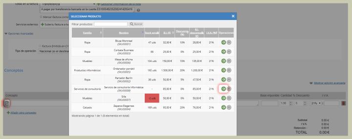 Selección automática de los conceptos de tu factura electrónica