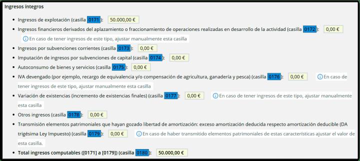 Ingresos de explotación en el modelo 100 autónomos