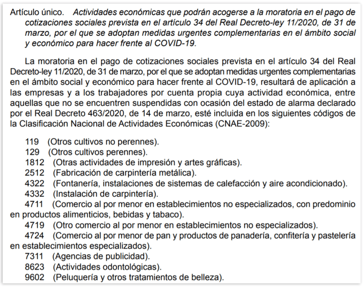 actividades cnae que pueden acogerse a la moratoria