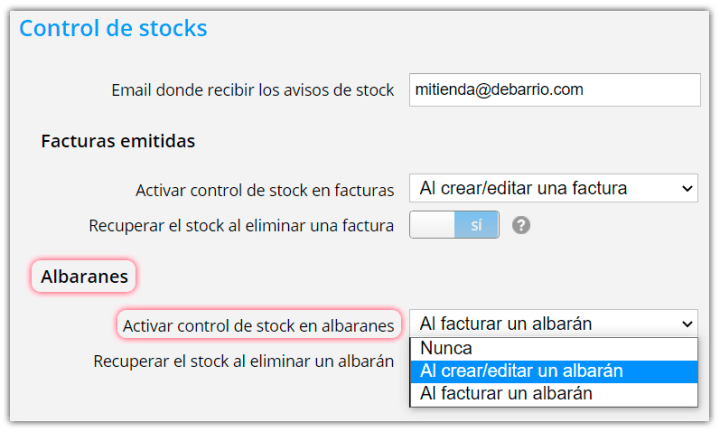 Activar control de stock en albaranes