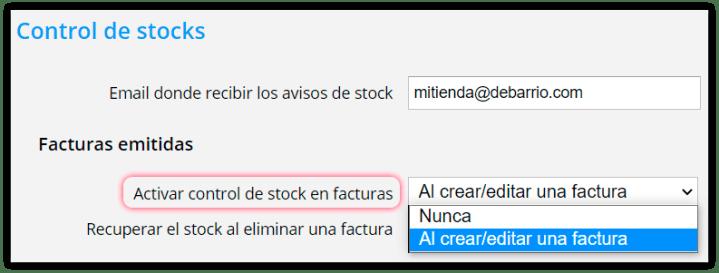 Activar control de stock en facturas