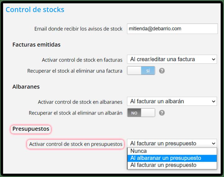 Activar control de stock en presupuestos