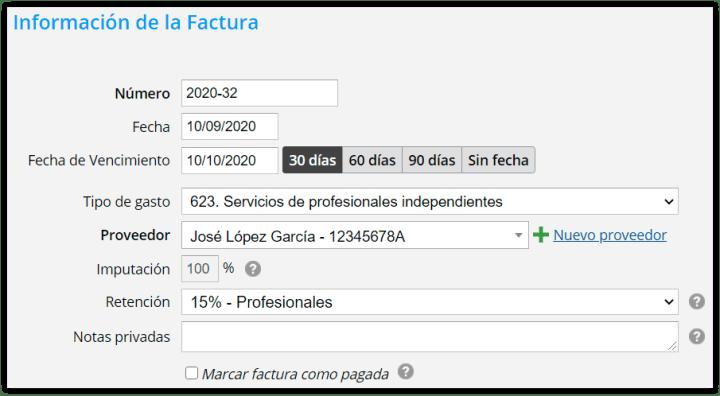 Factura recibida con retención de IRPF 15%
