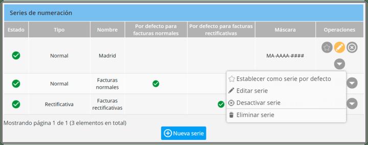 Configurar series facturación