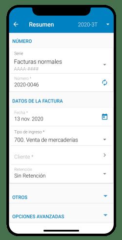 Crear factura desde app móvil