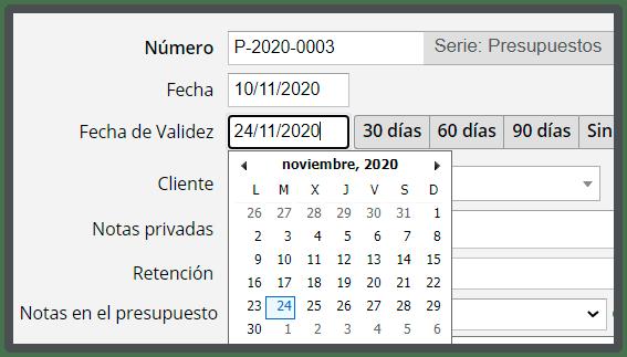 Calendario fecha