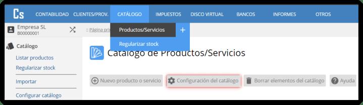 Configuración del catálogo