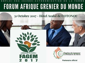 Le Forum Afrique, Grenier du Monde, « FAGEM » à Cotonou au Bénin le 31octobre 2017