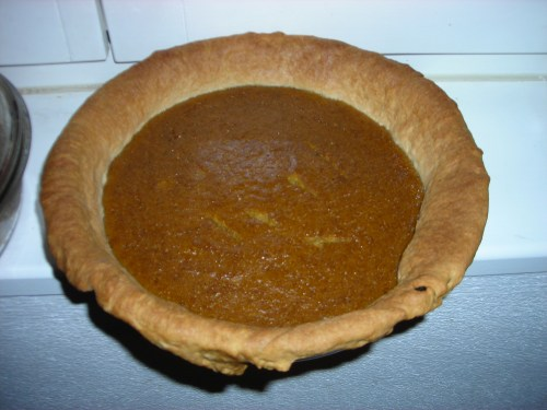 Pumpkin pie after being baked.
