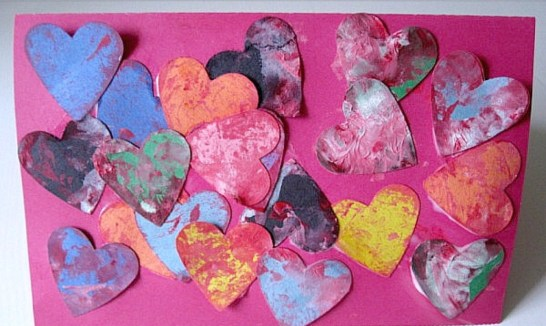 Shake Painting heart card for Valentine's Day - Cotswold Baby Co