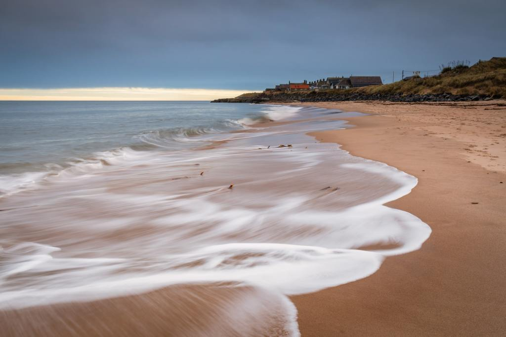 Druridge Bay beach early in the day