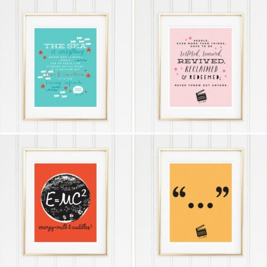 Genius Series Art Prints - Set of 4 - Jules, Audrey, Albert, and Chaplin