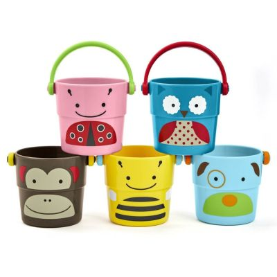 Colorful stack and pour bath time toys by Skip Hop will bring joy to cleaning up your child.