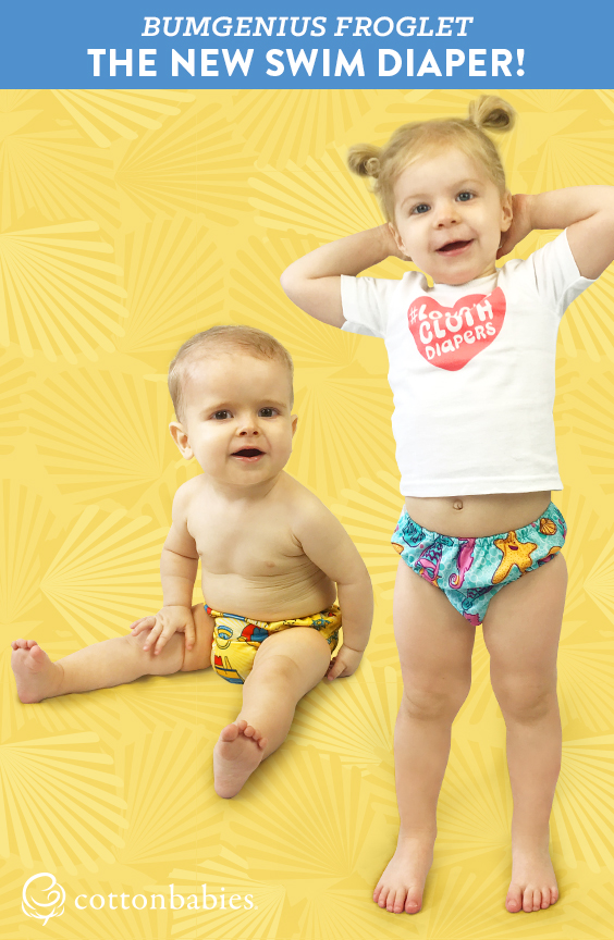 Your little one can soak up summer fun in the NEW bumGenius Froglet Swim Diaper. Get yours today! #bumgenius #swimdiaper #gogreen #reducereuse #clothdiapers