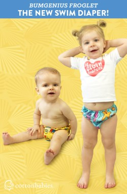Your little one can soak up summer fun in the NEW bumGenius Froglet Swim Diaper. Get yours today! #bumgenius #swimdiaper #gogreen #reducereuse #clothdiapers