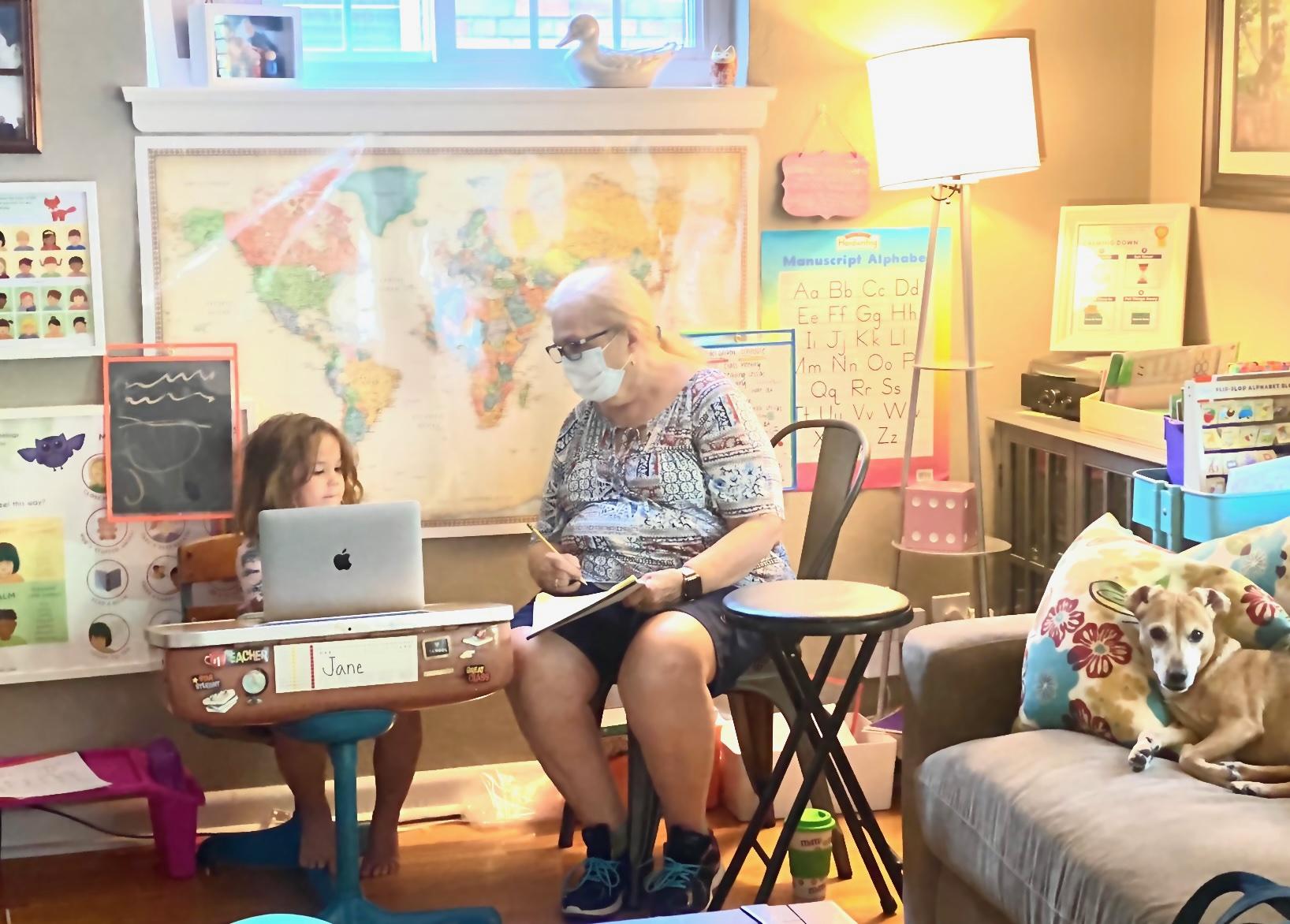 Grandma teaching virtual school