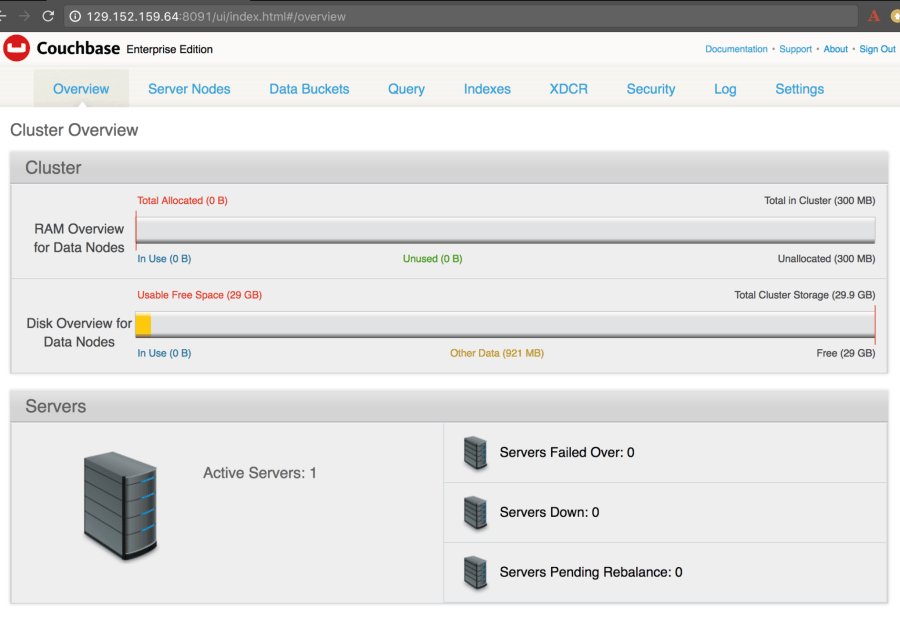 Oracle Cloud Couchbase Web Console Main Screen