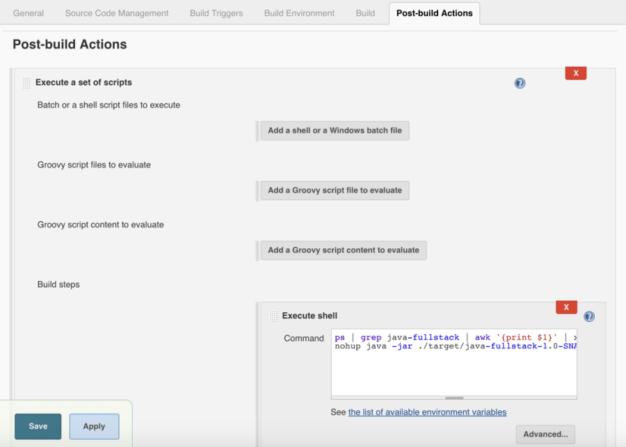 Jenkins Post-Build Java Actions